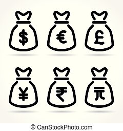 money bag icons on white background