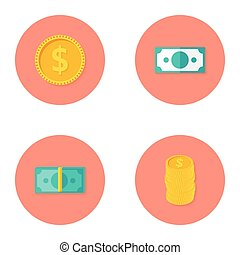 Money Circle Flat Icons Set