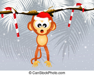 monkey at Christmas - illustration of monkey at Christmas