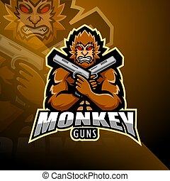Monkey gunner esport mascot logo design