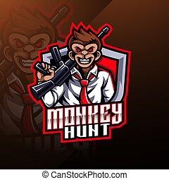 Monkey hunt mascot logo design