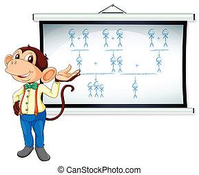 monkey showing white board