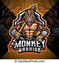 Monkey warrior esport mascot logo design