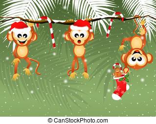 monkeys at Christmas - illustration of monkeys at Christmas