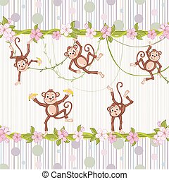 Illustration of monkeys playing