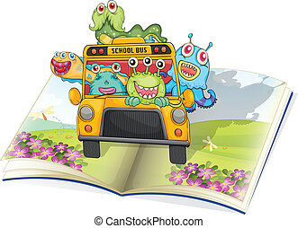 monsters, school bus and book - illustration of monsters,...