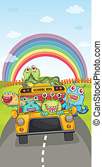 monsters, school bus and rainbow - illustration of monsters,...