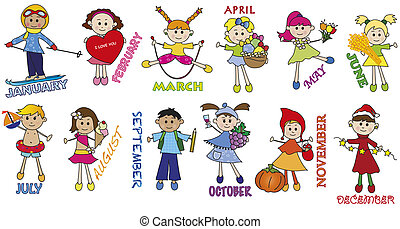 illustration of months with funny children