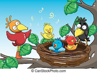 illustration of Mother and baby birds singing in the trees carto