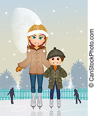 mother and child on ice skate