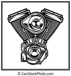 Illustration of motorcycle engine. - Illustration of...