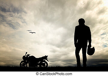 motorcyclist at sunset - illustration of motorcyclist at ...