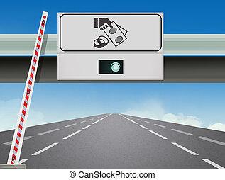 motorway exit - illustration of motorway exit