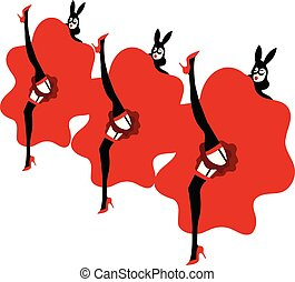 illustration of moulin rouge girls dancing and performing