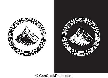 Mount Olympus - Illustration of Mount Olympus inside a Greek...