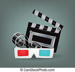 Illustration of movie objects with 3d glasses