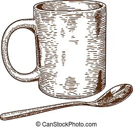 Vector engraving antique illustration of a mug and spoon isolated on white background
