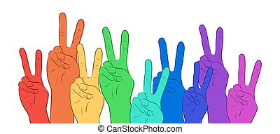 Illustration of multi colored rainbow hands, showing peace. Vector element for your creativity