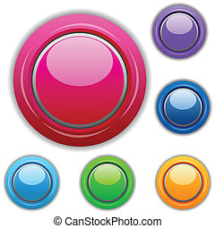 illustration of multicolored buttons on white background