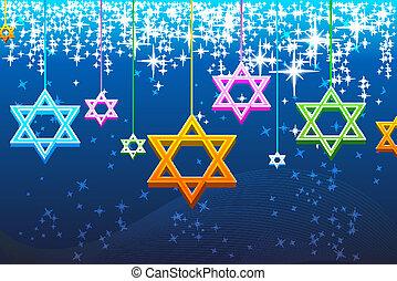 illustration of multicolorful hanukkah card
