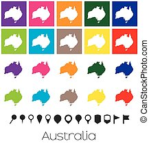 Multiple Colours with Pointers of the map of Australia