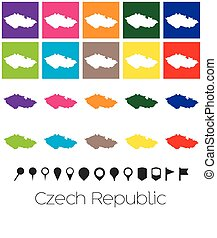 Multiple Colours with Pointers of the map of Czech Republic
