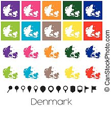 Multiple Colours with Pointers of the map of Denmark