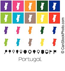 Multiple Colours with Pointers of the map of Portugal