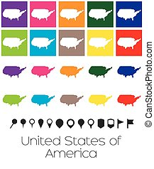 Multiple Colours with Pointers of the map of United States of America