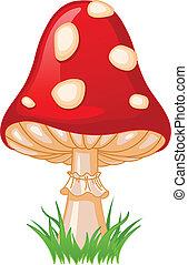 Illustration of Mushroom amanita in a grass