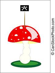 Illustration of Mushroom amanita in a grass vector