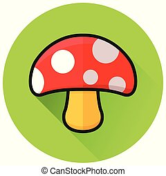 mushroom circle green flat icon