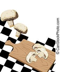 Mushroom on cutting board