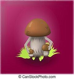 Illustration of mushrooms on a bright background