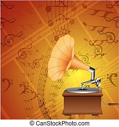 music card with gramophone