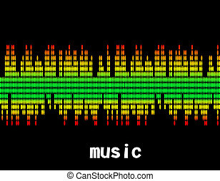 illustration  of music colorful equaliser bar in black background