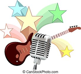Illustration of music instruments with guitar, mic and star