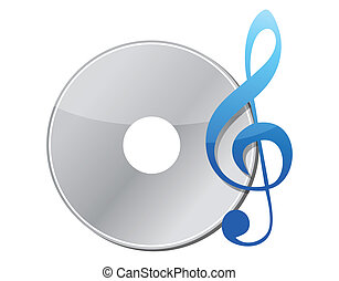 illustration of music note and cd