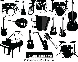 musical instruments collection - illustration of musical...