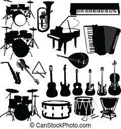 illustration of musical instruments - vector