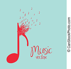 Illustration of musical notes forming a larger note, music, sound, vector illustration