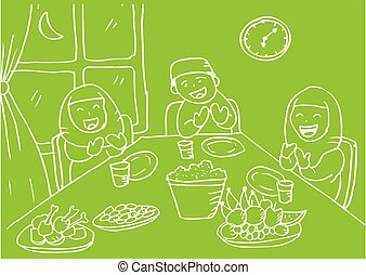 Illustration of muslim family praying after eating.