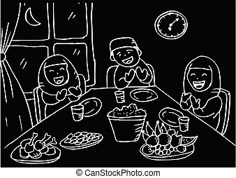 Illustration of muslim family praying after eating.