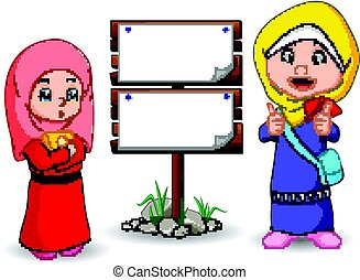 Muslim kids cartoon with wooden sign