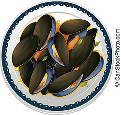mussels and a dish - illustration of mussels and a dish on a...