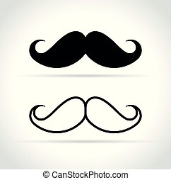 mustache icons on white background