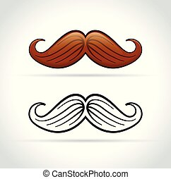 mustache on white background