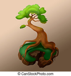 tree with strong roots - illustration of mythical tree with...