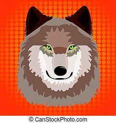 Illustration of n wild wolf with pop art background .eps