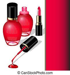 illustration of nail polish brush and a drop of lipstick